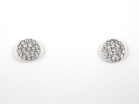 Classic Dainty Micro CZ Setting Round Disc Silver Earrings