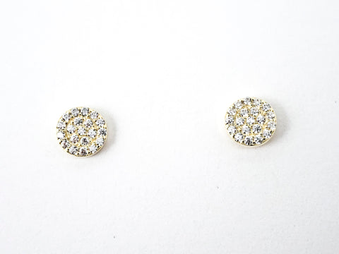 Classic Dainty Micro CZ Setting Round Disc Gold Tone Silver Earrings