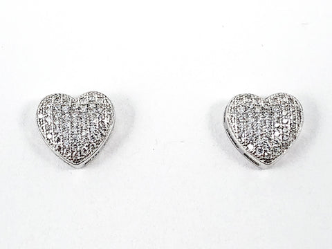 Elegant Micro Pave CZ Style Heart Shape Form Silver Stud Earrings