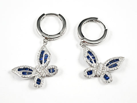 Elegant Sapphire Color Baguette CZ Setting Dangle Huggie Style Silver Earrings