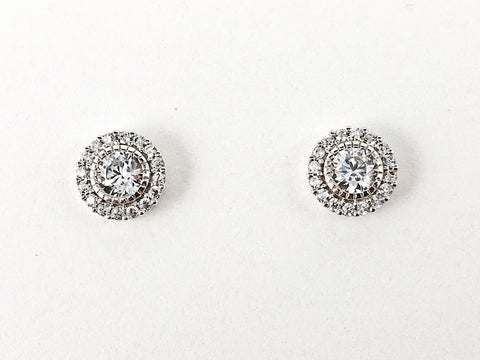 Elegant Round Halo Micro CZ Design Silver Stud Earrings