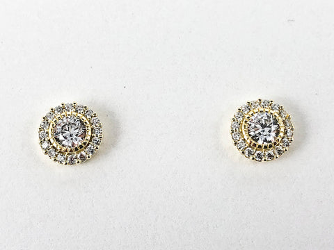 Elegant Round Halo Micro CZ Design Gold Tone Silver Stud Earrings