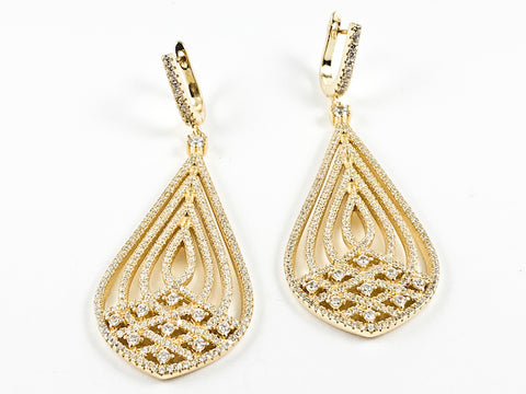 Elegant Stylish Layered Large Tear Drop Micro CZ Setting Gold Tone Latch Back Silver Earrings