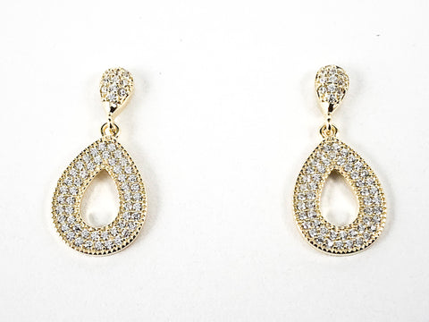 Elegant Oval & Pear Shapes Pave CZ Dangle Gold Tone Silver Earrings