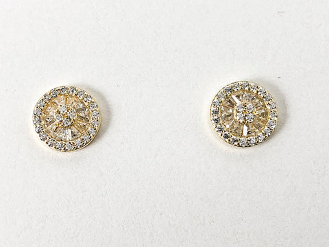 Elegant Round Mix Micro CZ Design Gold Tone Stud Silver Earrings