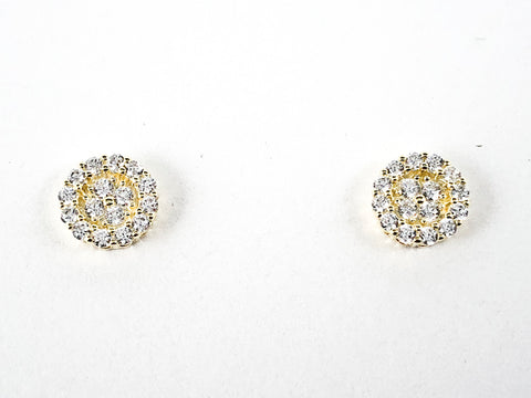 Elegant Dainty Micro CZ Round Stud Silver Earrings