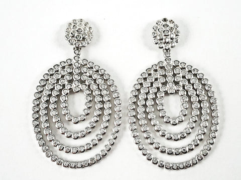 Elegant Large Bezel CZ Setting Style Round & Oval Shape Dangle Silver Earrings