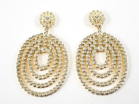 Elegant Large Bezel CZ Setting Style Round & Oval Shape Dangle Gold Tone Silver Earrings