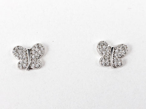 Cute Micro Butterfly Pave CZ Silver Stud Earrings
