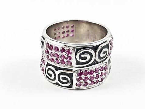 Unique Antique Tribal Style Design Eternity Silver Ring