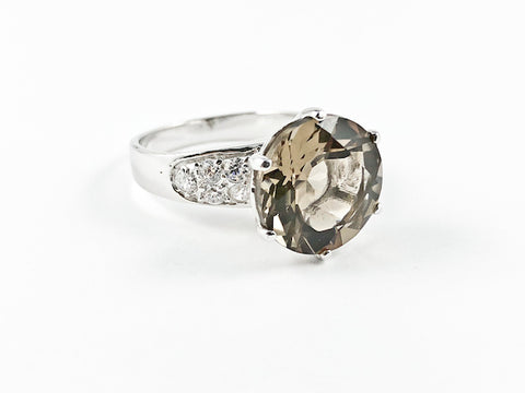 Classic Large Brown CZ Center Stone Silver Ring