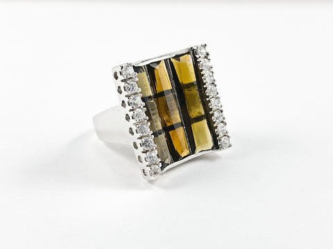 Classic Elegant Curve Square 3 Row Detailed Cut Topaz CZs Silver Ring