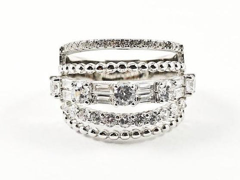 Elegant Fine Multi Row Unique Pattern Band CZ Silver Ring