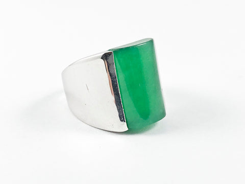 Elegant Center Jade Silver Ring