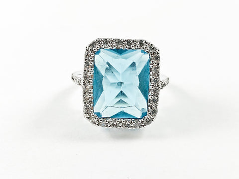 Classic Elegant Thick Rectangle Shape Aquamarine Center CZ Silver Ring