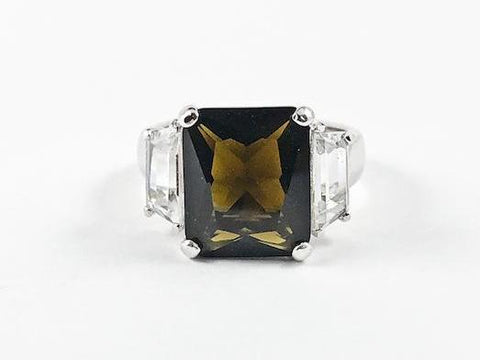 Classic Trillion Style Design Brown Center Square CZ Silver Ring