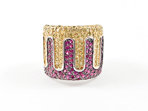 Fancy Elegant Yellow & Fuchsia Color Micro Pave CZ Design Thick Silver Ring