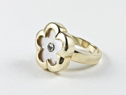 Elegant Nice Flower & Star Shape Mother Of Pearl Silver Ring