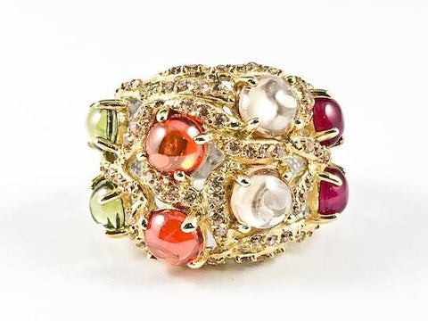 Elegant Unique Textured Large Round Colorful Crystal CZ Shape Gold Tone Silver Ring