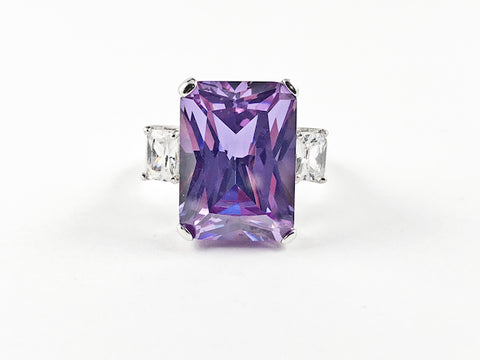Classic Trillion Style Rectangular Center Purple CZ Silver Ring