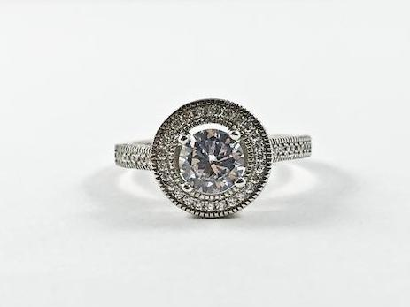 Classic Fine Round Cut Shape Engagement Style CZ Silver Ring