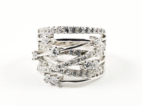 Elegant Unique Open Criss Cross Pattern CZ Silver Ring