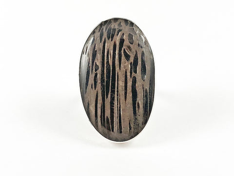 Unique Long Oval Shape Wood Impression Silver Ring
