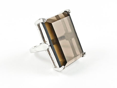Elegant Classic Rectangular Brown Topaz Emerald Cut Silver Ring