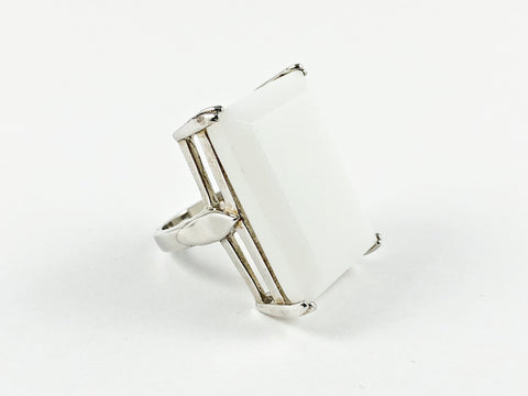 Elegant Classic Rectangular White Emerald Cut Silver Ring