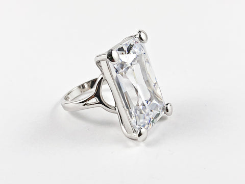 Classic Elegant Rectangular Radiant Cut Silver Ring