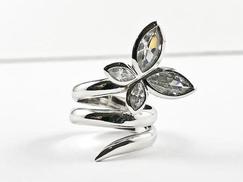 Unique CZ Butterfly Wraparound Silver Ring