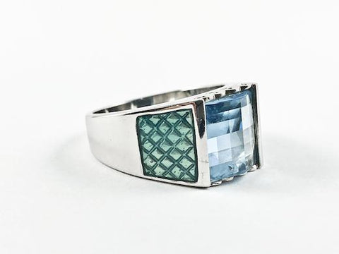 Casual Delicate Blue Square Enamel Silver Ring