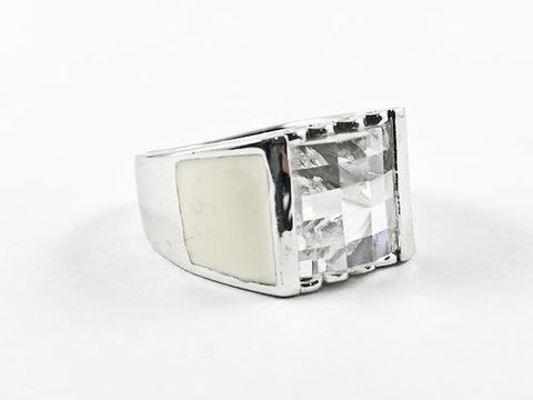 Casual Delicate White Square Enamel Silver Ring