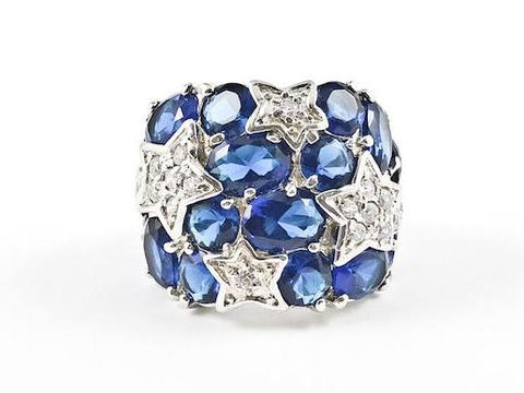 Elegant Bold Sapphire Stones Shooting Star Design Silver Ring