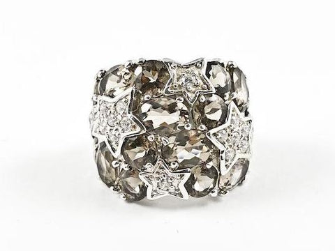 Elegant Bold Smoke Topaz Stones Shooting Star Design Silver Ring