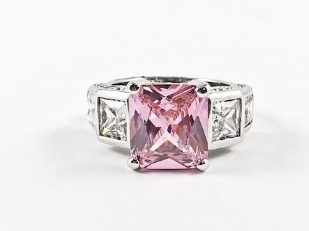 Classic Elegant 3 Stone Princess Cut Pink Silver Ring
