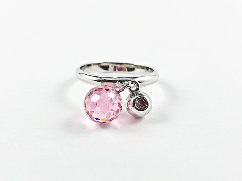 Cute Dainty Dangling Pink Stone Charm Silver Ring
