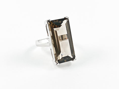 Classic Elegant Smoke Topaz Radiant Cut Rectangular Shaped Silver Ring