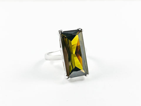 Classic Elegant Olive Radiant Cut Rectangular Shaped Silver Ring
