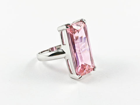 Classic Elegant Pink Radiant Cut Rectangular Shaped Silver Ring