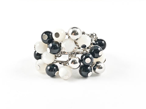 Unique Multi Dangle Shiny Metallic Black & White Ball Beads Fun Design Silver Ring