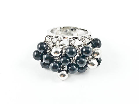 Unique Multi Dangle Shiny Metallic Black & Silver Ball Beads Fun Design Silver Ring