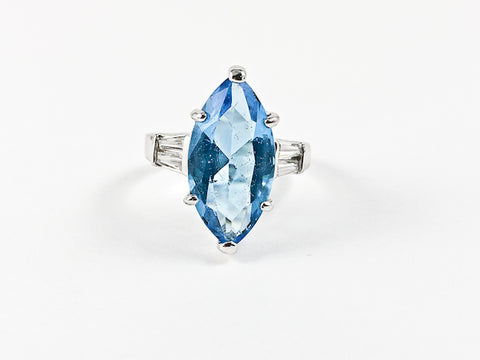 Beautiful Center Marquise Shape Aquamarine Color CZ Silver Ring