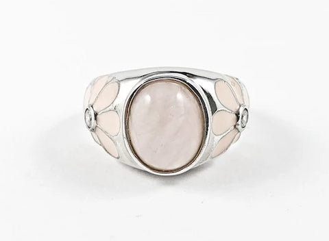 Beautiful Center Oval Pink Natural Style CZ With Floral Design Sides Silver Ring