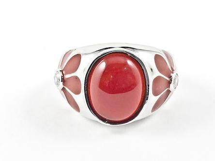 Cute Fun Red Enamel Flower Design Band With Center Red Stone Silver Ring