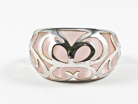 Unique Creative See Through Light Pink Color Crystal Filigree Pattern Silver Ring