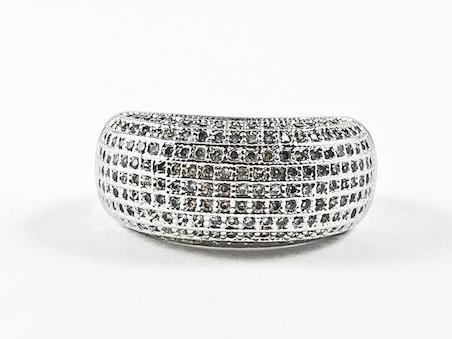 Classic Multi Row Fine Pave Setting CZ Silver Ring