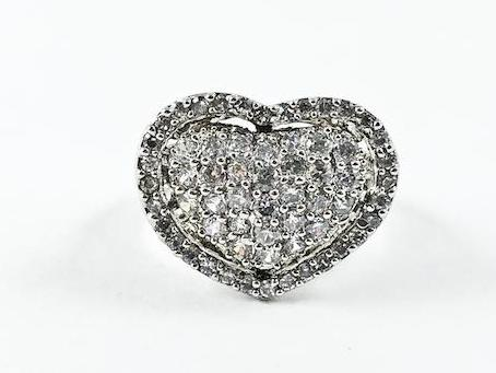 Elegant Fine Heart Halo Design Micro Setting CZ Silver Ring