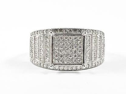 Classic Fine Micro Pave Style Square Silver Ring