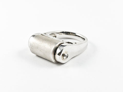 Unique Industrial Matte Roll Design Silver Ring